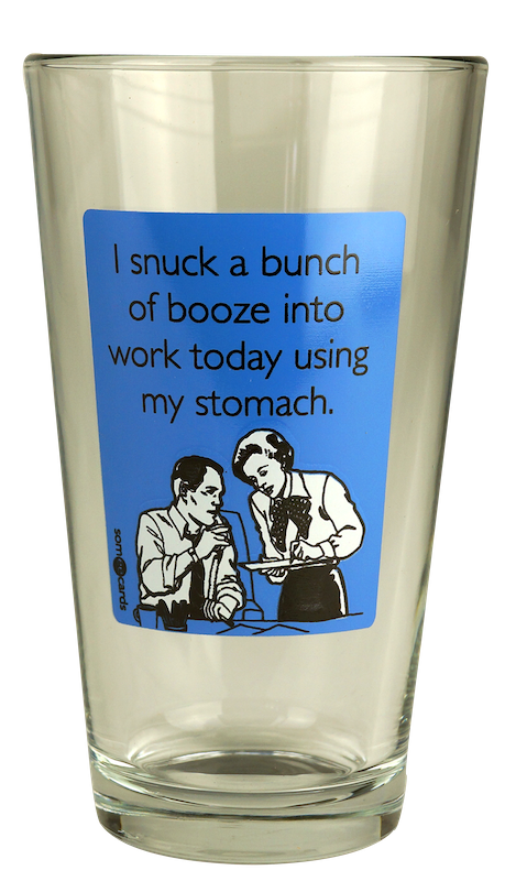 "Someecards ""Snuck Booze"" Pint - Blue"